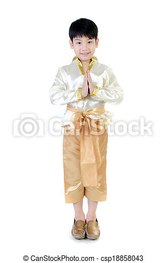 89ccf4f56 Asian cute boy in thai costume acting hello in thai on white background .