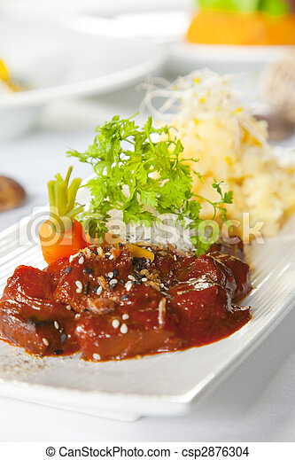 Asian dish with beef, noodles and vegetables - csp2876304