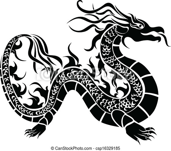 Asian Dragon Black Stencil