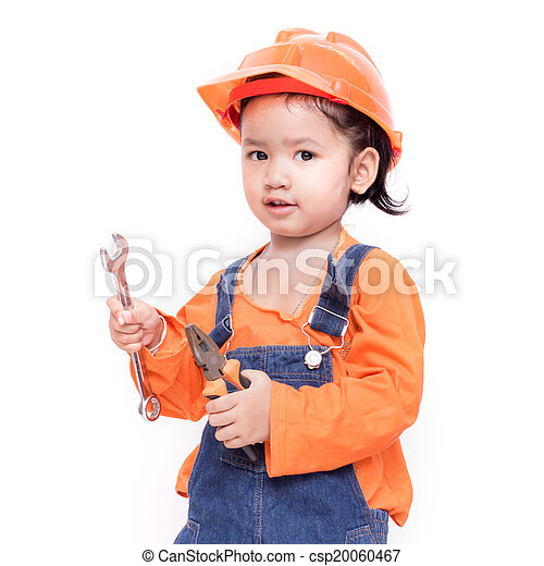 a86c9cd9033 Asian engineer baby with tools in hand isolated on white... stock ...