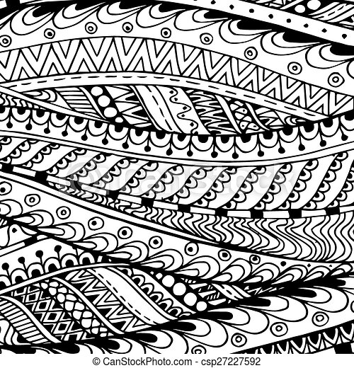 Asian ethnic doodle black and white pattern in vector.  - csp27227592