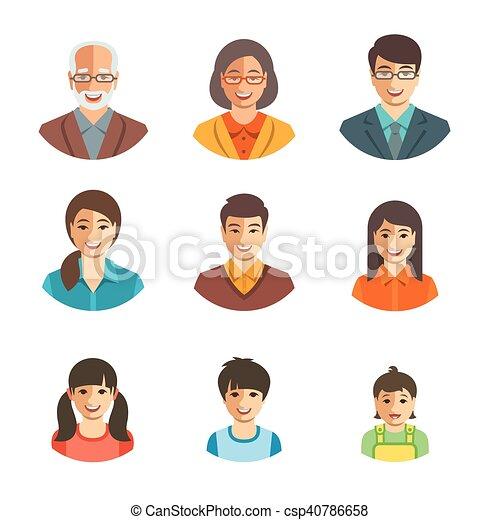 Asian family happy faces flat avatars set - csp40786658