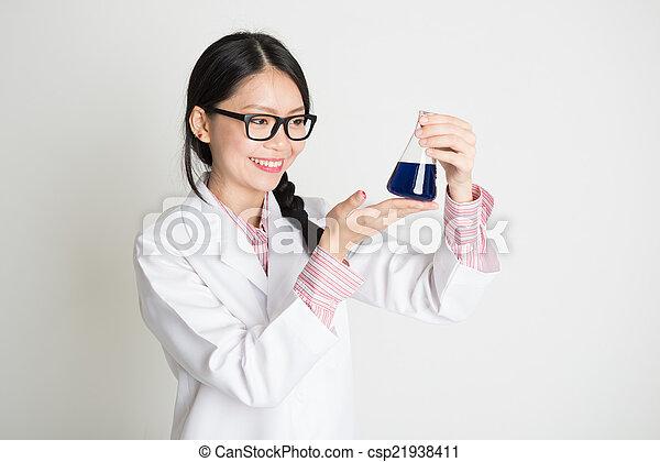 Asian female biochemistry student - csp21938411