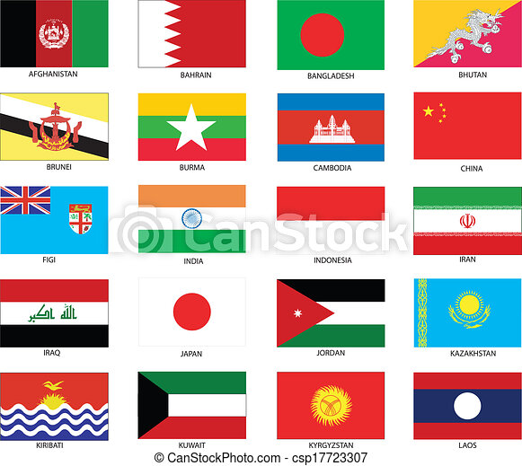 asian flags vector illustration of the flags of different countries