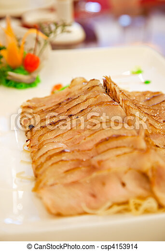 Asian food: Grill Pork Served with Spicy Sauce - csp4153914