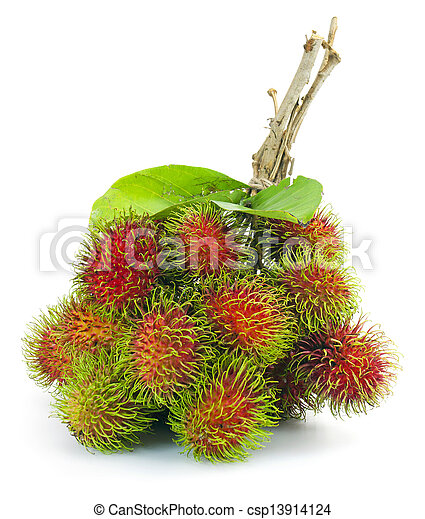 Asian fruit rambutan on white background - csp13914124