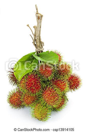 Asian fruit rambutan on white background - csp13914105