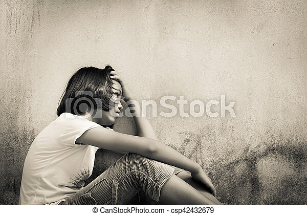 Asian Girl Sad Alone Sitting With White Bear Near Old Wall Cementvintage Tone