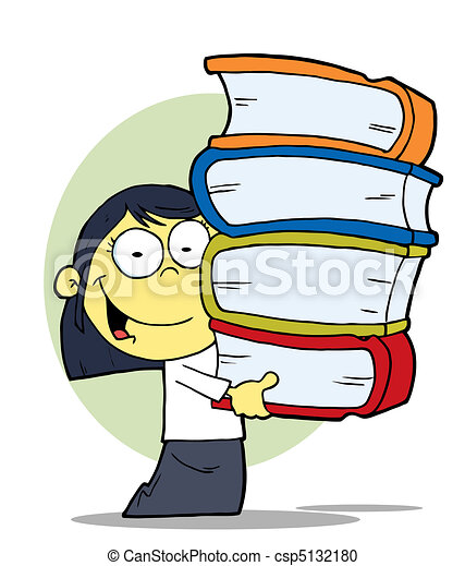 Asian Girl With Books - csp5132180