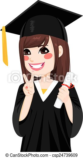 Asian Graduation Girl - csp24739609