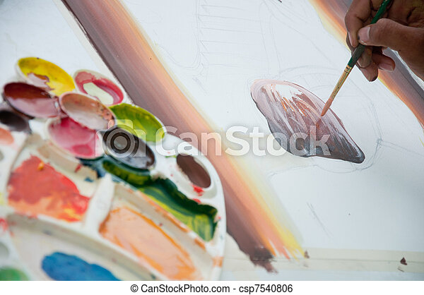 asian hand painter painting water color picture - csp7540806