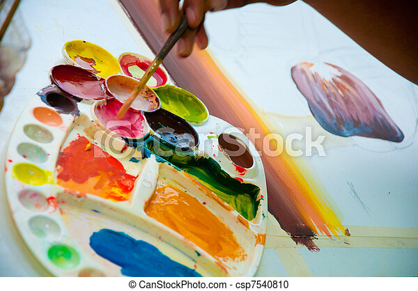 asian hand painter painting water color picture - csp7540810