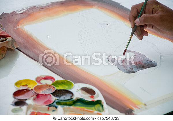 asian hand painter painting water color picture - csp7540733