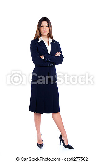 Asian Indian business woman full length with blue suit - csp9277562