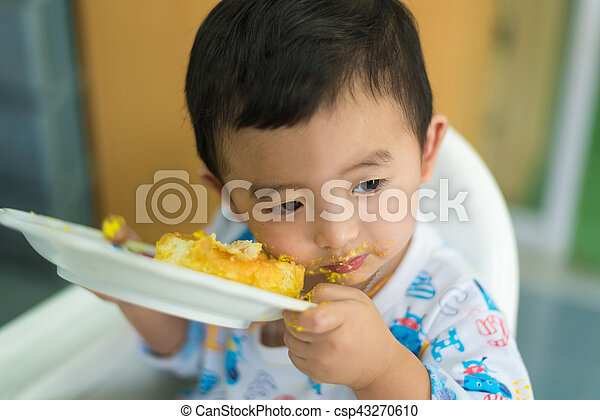Marvelous Asian Kid Eating Birthday Cake With Cream On Face Asian Kid Funny Birthday Cards Online Inifofree Goldxyz