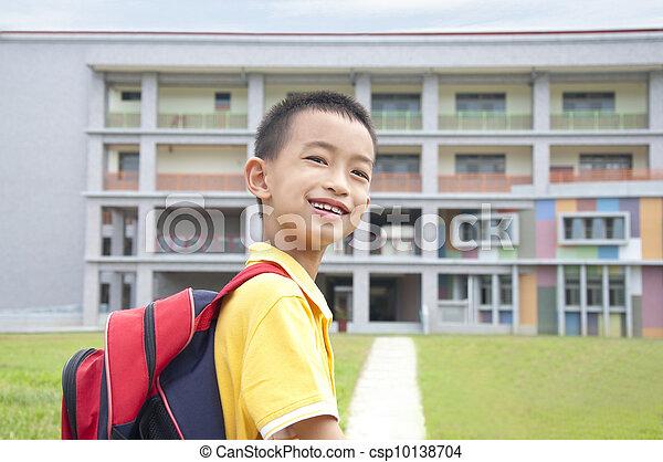 Asian kid happy to go to school - csp10138704