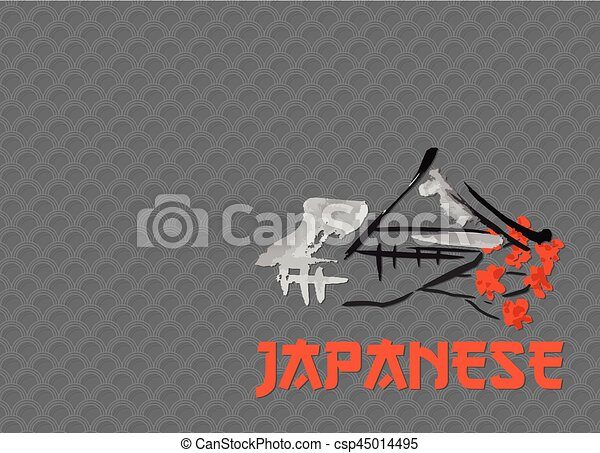 Asian Landscape Building Symbol And Sakura Blossoming Branch In