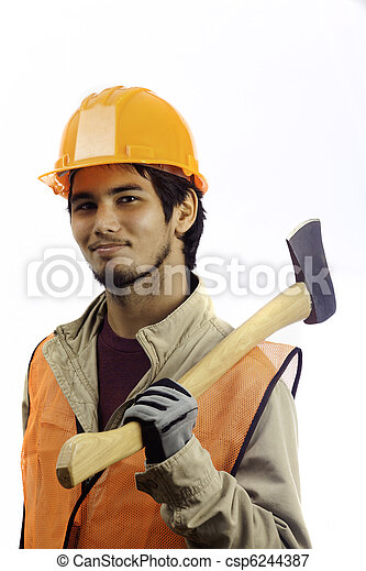 asian latino hard hat worker - csp6244387