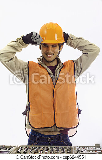 asian latino hard hat worker - csp6244551