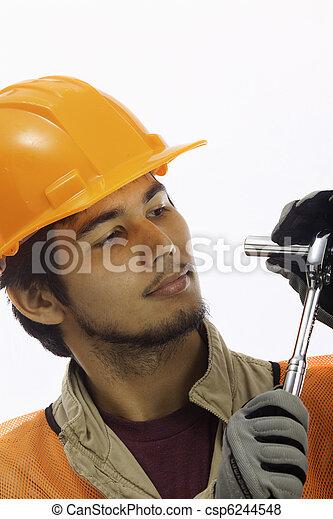 asian latino hard hat worker - csp6244548