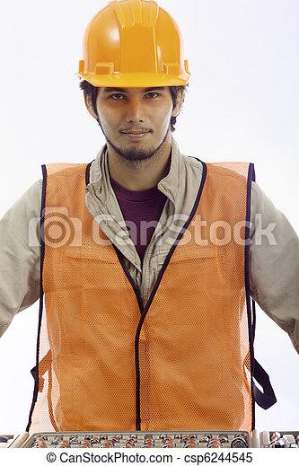 asian latino hard hat worker - csp6244545