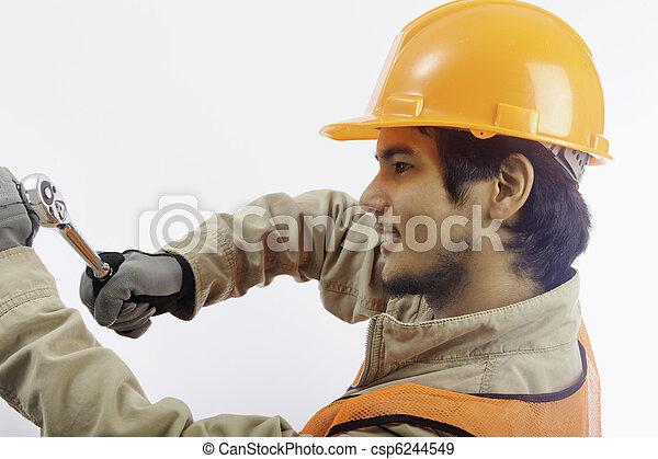 asian latino hard hat worker - csp6244549