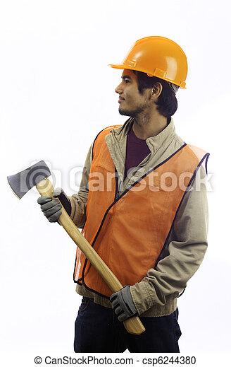 asian latino hard hat worker - csp6244380