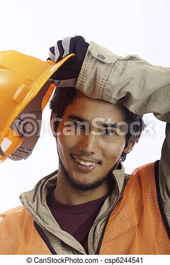 asian latino hardhat worker - csp6244541