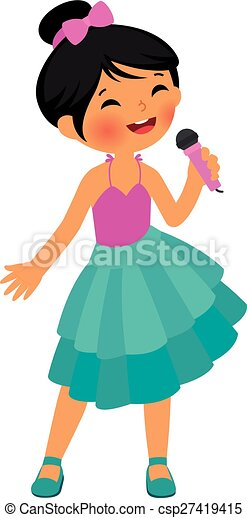asian little girl singing stock vector cartoon illustration rh canstockphoto ca singing clipart free singing clipart black and white