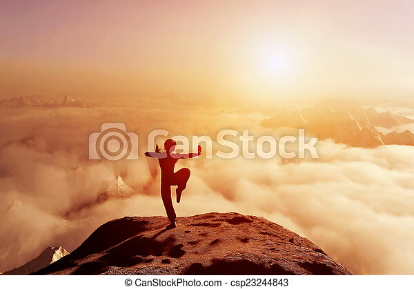 Asian man, fighter practices martia - csp23244843