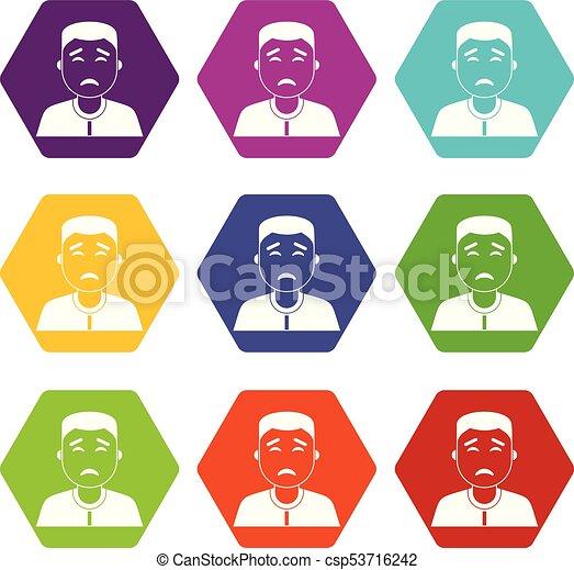 Asian man icon set color hexahedron - csp53716242