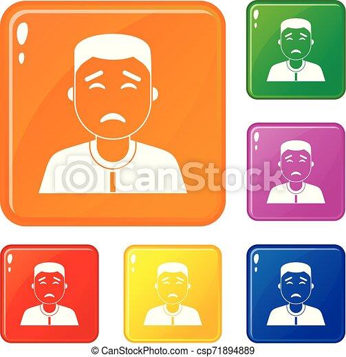 Asian man icons set vector color - csp71894889