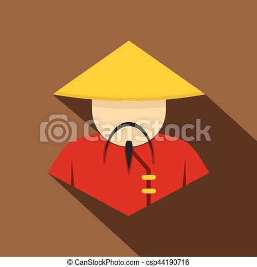 Asian Man In Conical Straw Hat Icon Flat Style Asian Man In