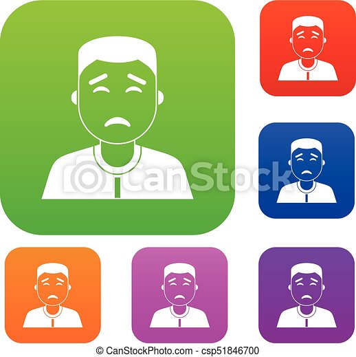 Asian man set color collection - csp51846700