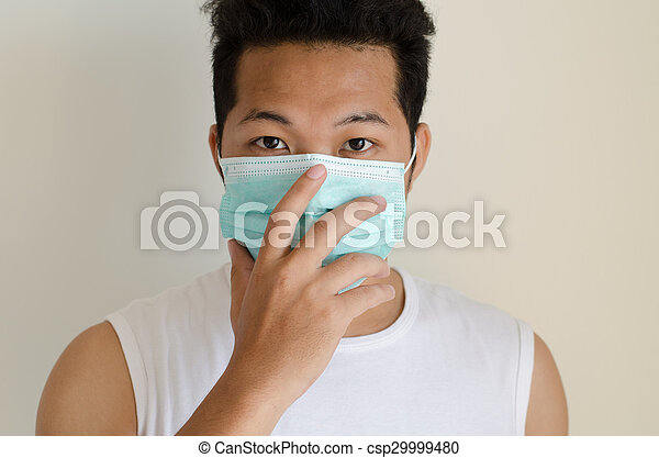 Face Mask Wearing Man Asian A