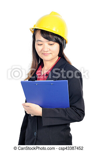 116ed65c4e4 Asian middle business woman wearing yellow safety helmet.