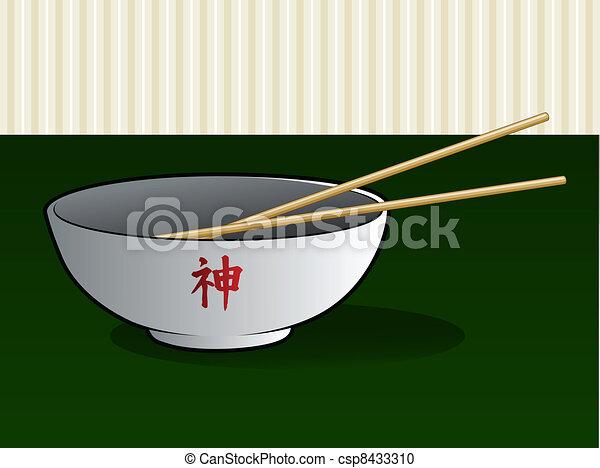 Asian Noodle Bowl with Chop Sticks - csp8433310