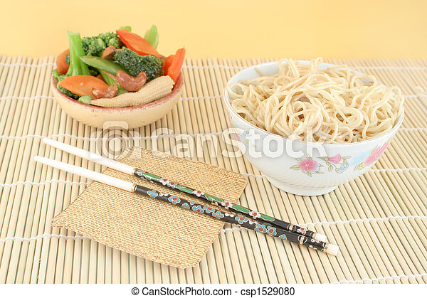 asian noodles and vegetables - csp1529080