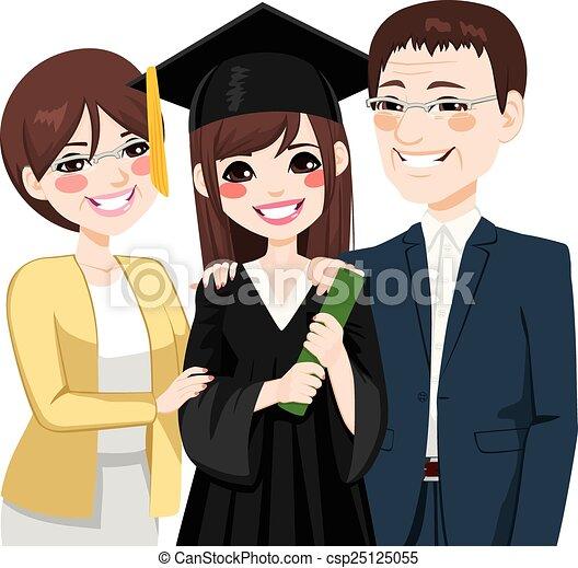 Asian Parents Proud Of Daughter - csp25125055