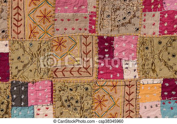 Asian patchwork carpet in Rajasthan, India - csp38345960