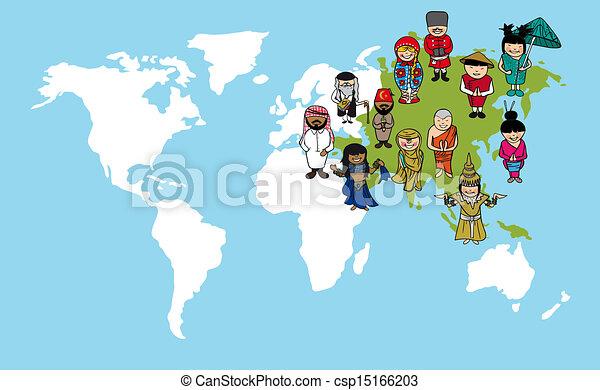 Asian people cartoons, world map diversity illustration. Diversity ...