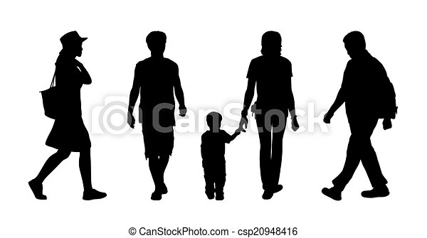 Asian People Walking Outdoor Silhouettes Set 1 Stock Illustration