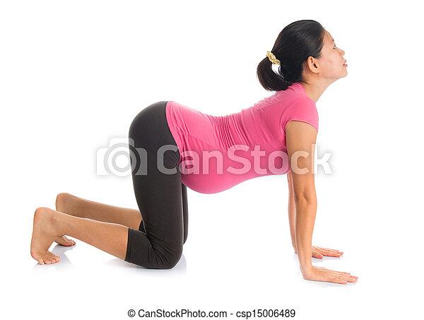 asian pregnant yoga position cat pose prenatal yoga