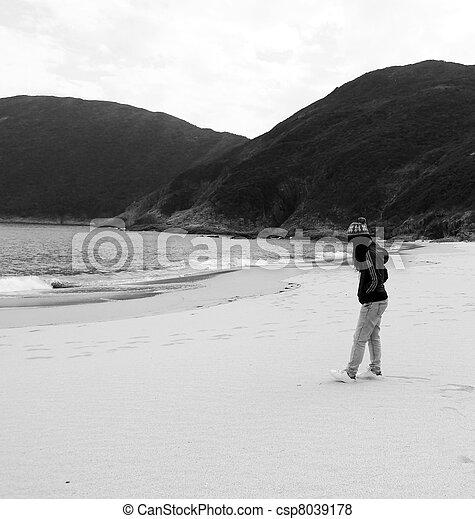 Asian sad woman on beach - csp8039178