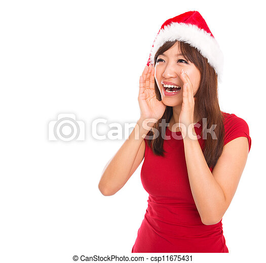 Asian Santa woman shouting - csp11675431