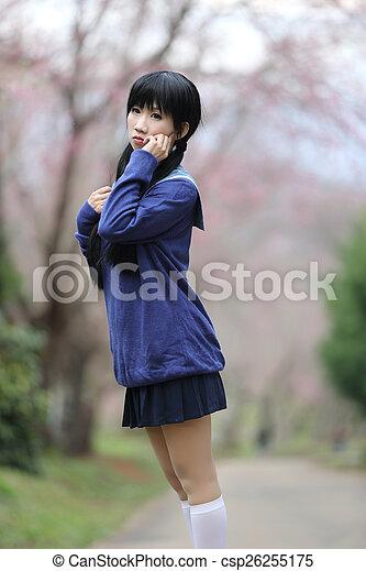 Asian Schoolgirl With Nature Csp26255175