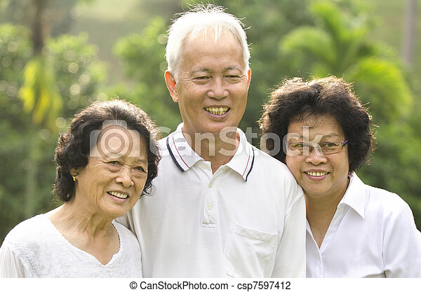 asian senior adult family - csp7597412