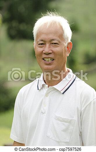asian senior adult - csp7597526