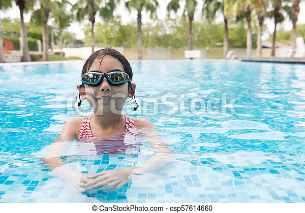 Asian teenager girl with goggles - csp57614660