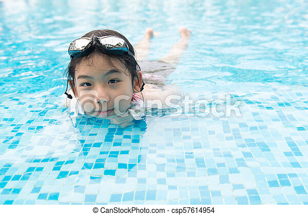 Asian teenager girl with goggles - csp57614954